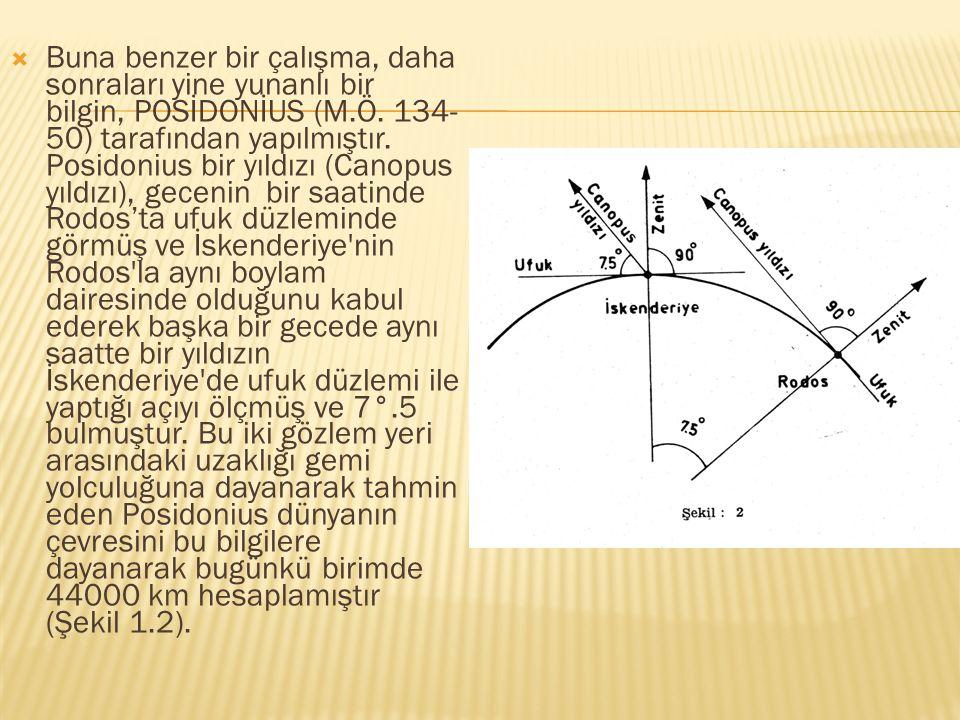 Buna benzer bir çalışma, daha sonraları yine yunanlı bir bilgin, POSİDONİUS (M.Ö.