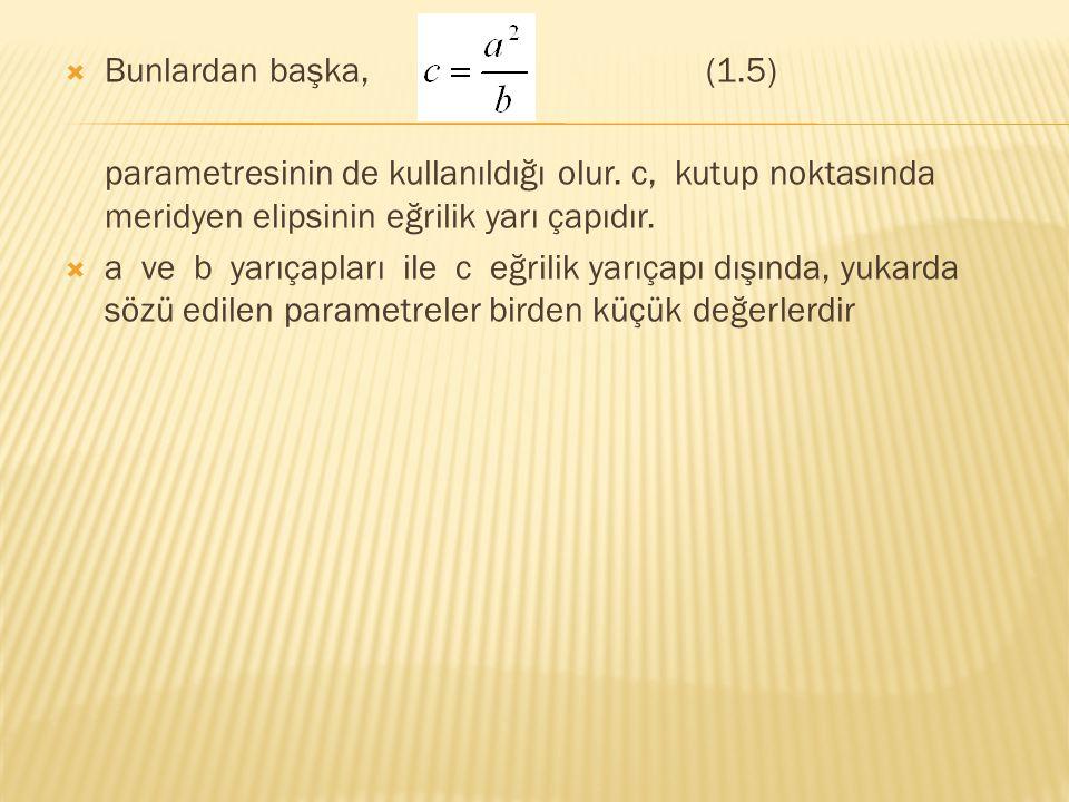 Bunlardan başka, (1.5) parametresinin de kullanıldığı olur. c, kutup noktasında meridyen elipsinin eğrilik yarı çapıdır.