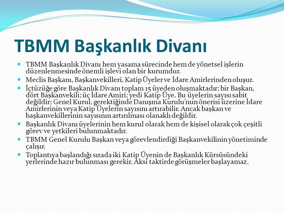 TBMM Başkanlık Divanı TBMM Başkanlık Divanı hem yasama sürecinde hem de yönetsel işlerin düzenlenmesinde önemli işlevi olan bir kurumdur.