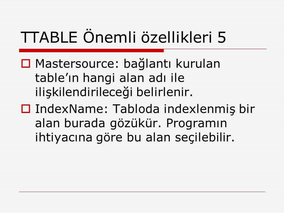 TTABLE Önemli özellikleri 5