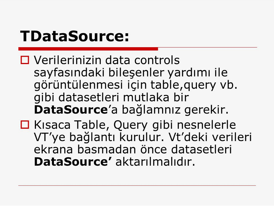 TDataSource: