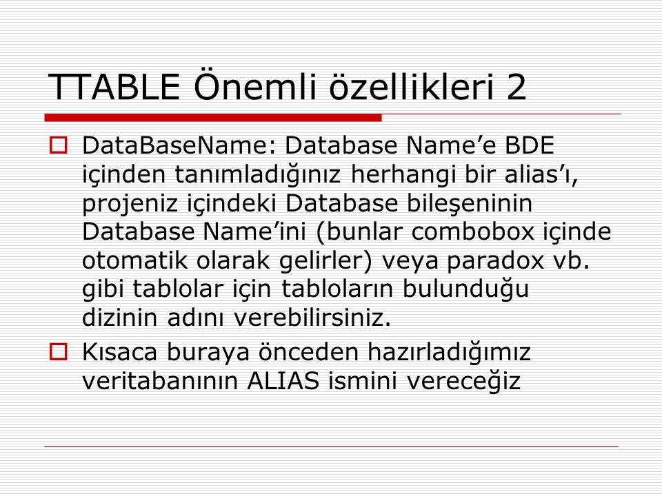 TTABLE Önemli özellikleri 2