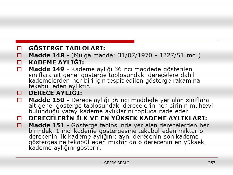 Madde 148 - (Mülga madde: 31/07/1970 - 1327/51 md.) KADEME AYLIĞI: