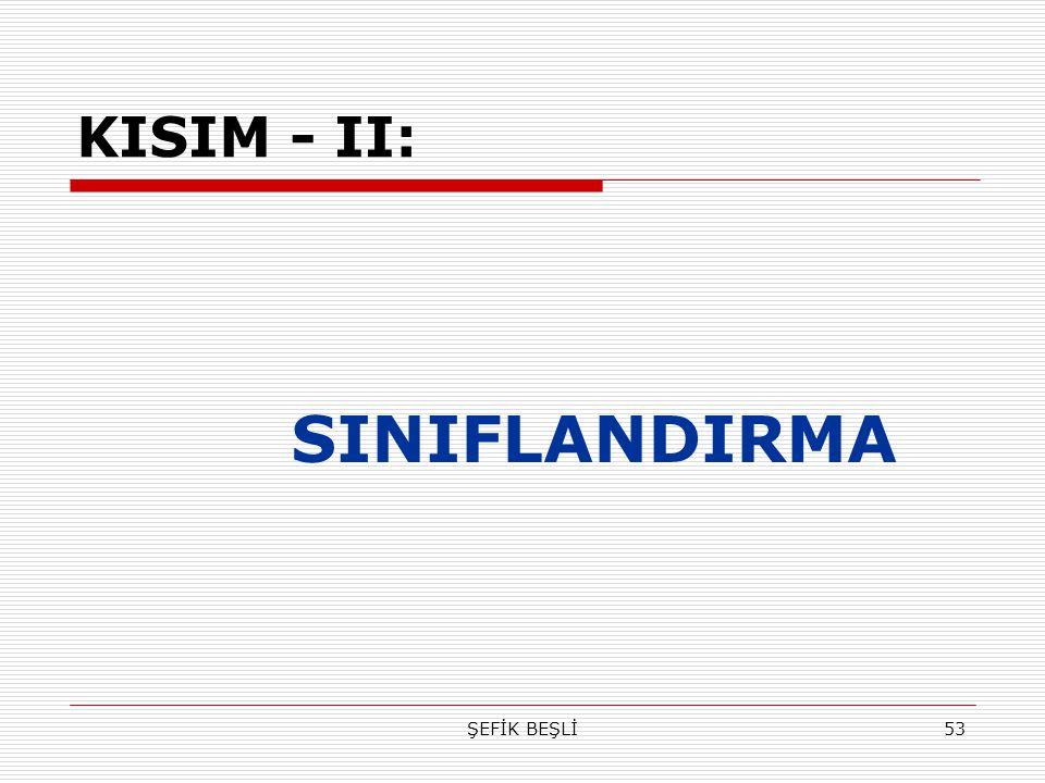 KISIM - II: SINIFLANDIRMA ŞEFİK BEŞLİ