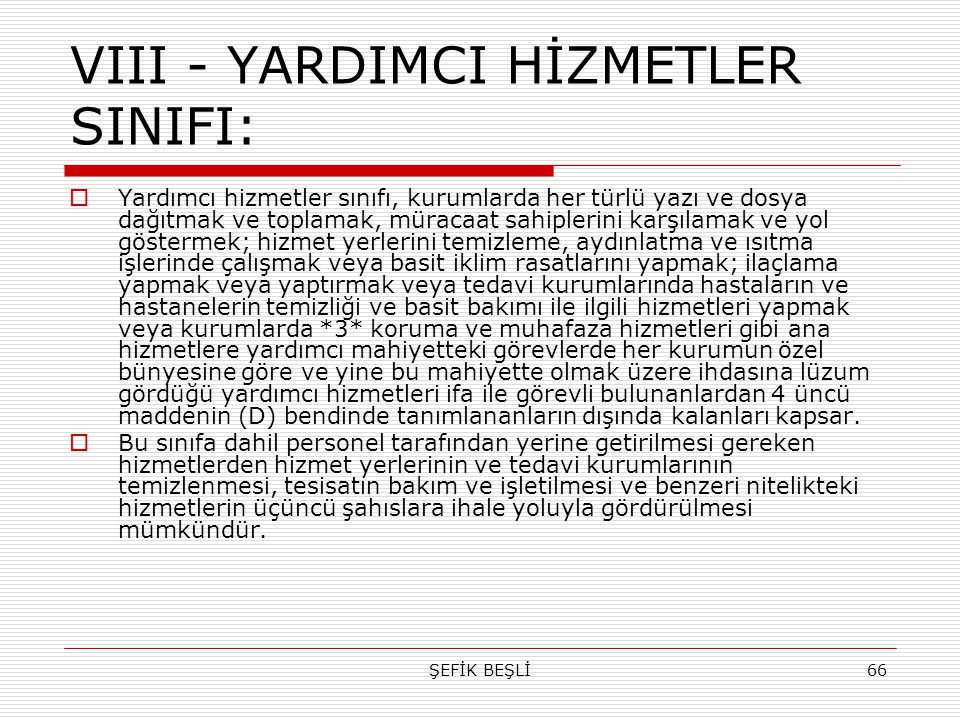 VIII - YARDIMCI HİZMETLER SINIFI: