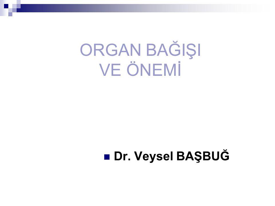 ORGAN BAĞIŞI VE ÖNEMİ Dr. Veysel BAŞBUĞ