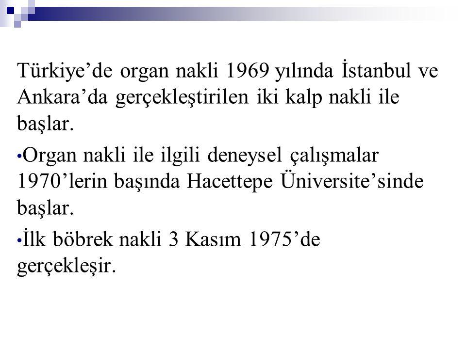 Türkiye'de organ nakli 1969 yılında İstanbul ve Ankara'da gerçekleştirilen iki kalp nakli ile başlar.