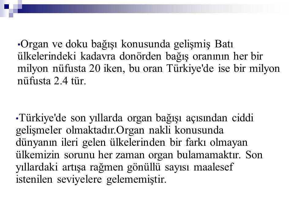 Organ ve doku bağışı konusunda gelişmiş Batı ülkelerindeki kadavra donörden bağış oranının her bir milyon nüfusta 20 iken, bu oran Türkiye de ise bir milyon nüfusta 2.4 tür.