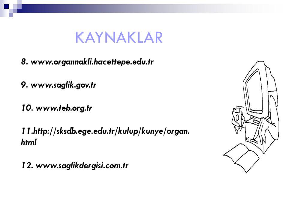 KAYNAKLAR 8. www.organnakli.hacettepe.edu.tr 9. www.saglik.gov.tr