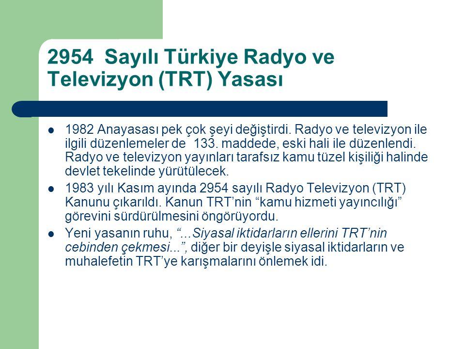 2954 Sayılı Türkiye Radyo ve Televizyon (TRT) Yasası