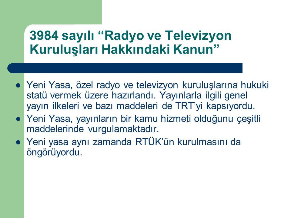 3984 sayılı Radyo ve Televizyon Kuruluşları Hakkındaki Kanun