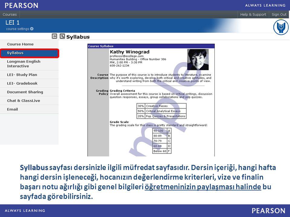Syllabus sayfası dersinizle ilgili müfredat sayfasıdır