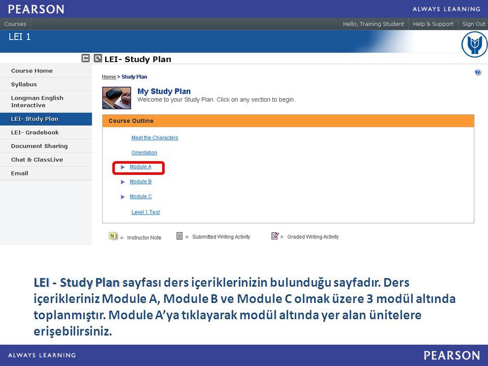 LEI - Study Plan sayfası ders içeriklerinizin bulunduğu sayfadır