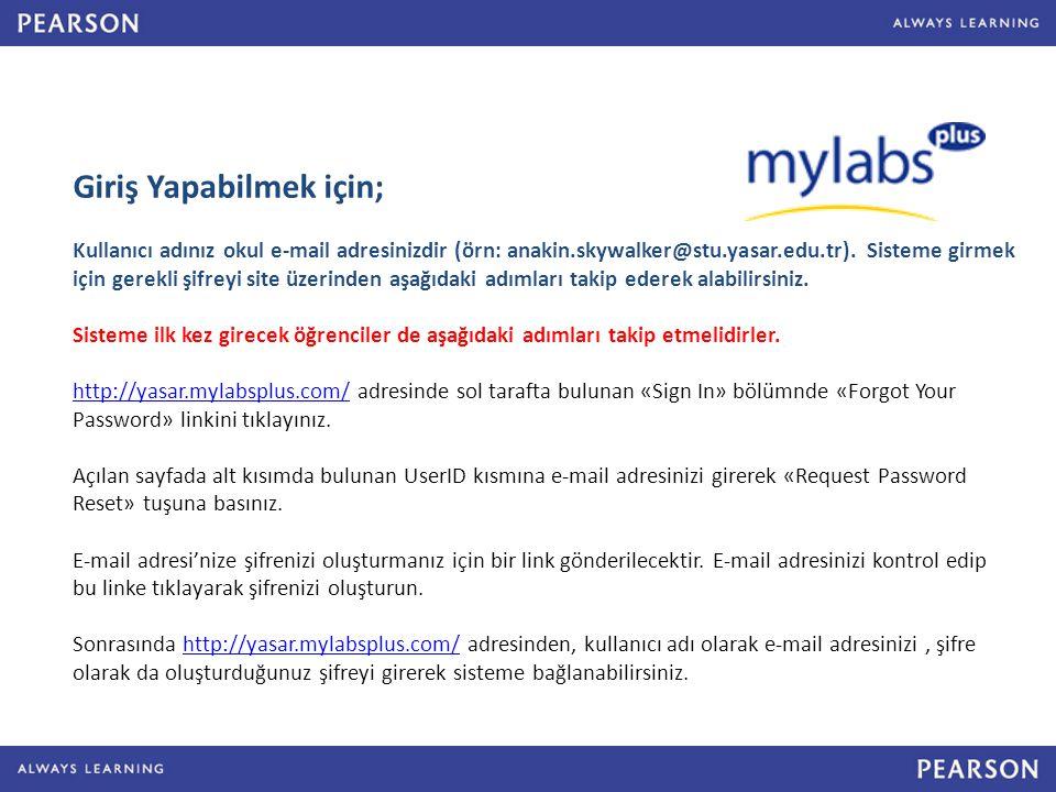 Giriş Yapabilmek için; Kullanıcı adınız okul e-mail adresinizdir (örn: anakin.skywalker@stu.yasar.edu.tr).