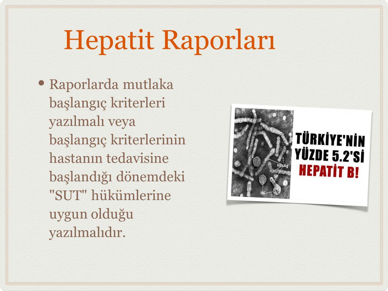 Hepatit Raporları