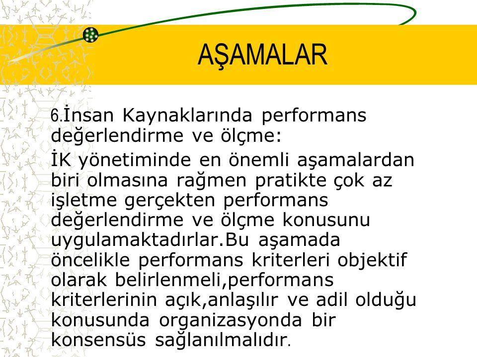 AŞAMALAR 6.İnsan Kaynaklarında performans değerlendirme ve ölçme: