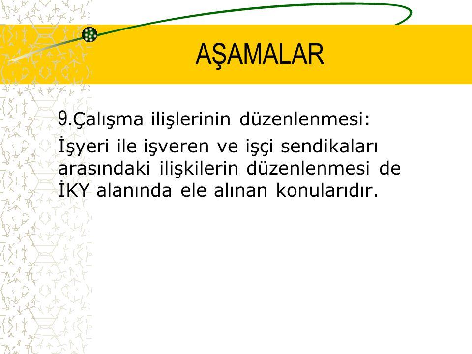 AŞAMALAR 9.Çalışma ilişlerinin düzenlenmesi: