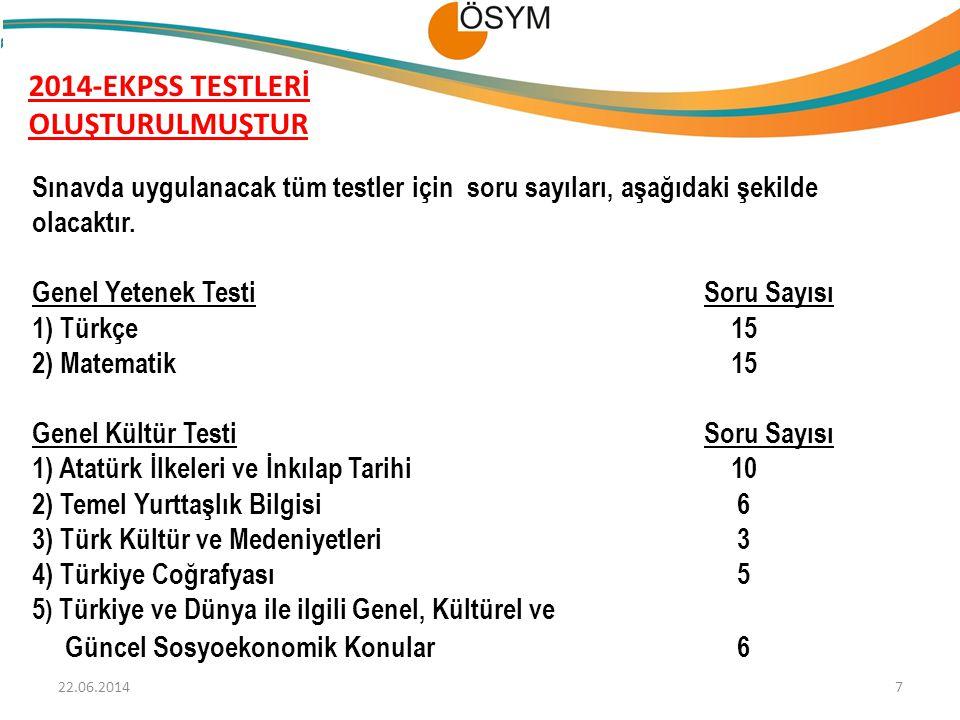 2014-EKPSS TESTLERİ OLUŞTURULMUŞTUR