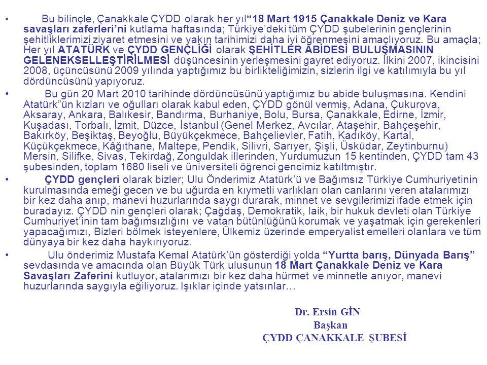 Bu bilinçle, Çanakkale ÇYDD olarak her yıl 18 Mart 1915 Çanakkale Deniz ve Kara savaşları zaferleri'ni kutlama haftasında; Türkiye'deki tüm ÇYDD şubelerinin gençlerinin şehitliklerimizi ziyaret etmesini ve yakın tarihimizi daha iyi öğrenmesini amaçlıyoruz. Bu amaçla; Her yıl ATATÜRK ve ÇYDD GENÇLİĞİ olarak ŞEHİTLER ABİDESİ BULUŞMASININ GELENEKSELLEŞTİRİLMESİ düşüncesinin yerleşmesini gayret ediyoruz. İlkini 2007, ikincisini 2008, üçüncüsünü 2009 yılında yaptığımız bu birlikteliğimizin, sizlerin ilgi ve katılımıyla bu yıl dördüncüsünü yapıyoruz.