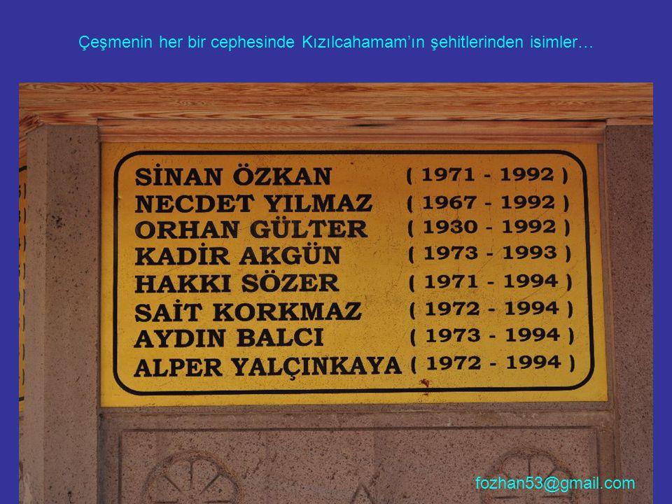 Çeşmenin her bir cephesinde Kızılcahamam'ın şehitlerinden isimler…