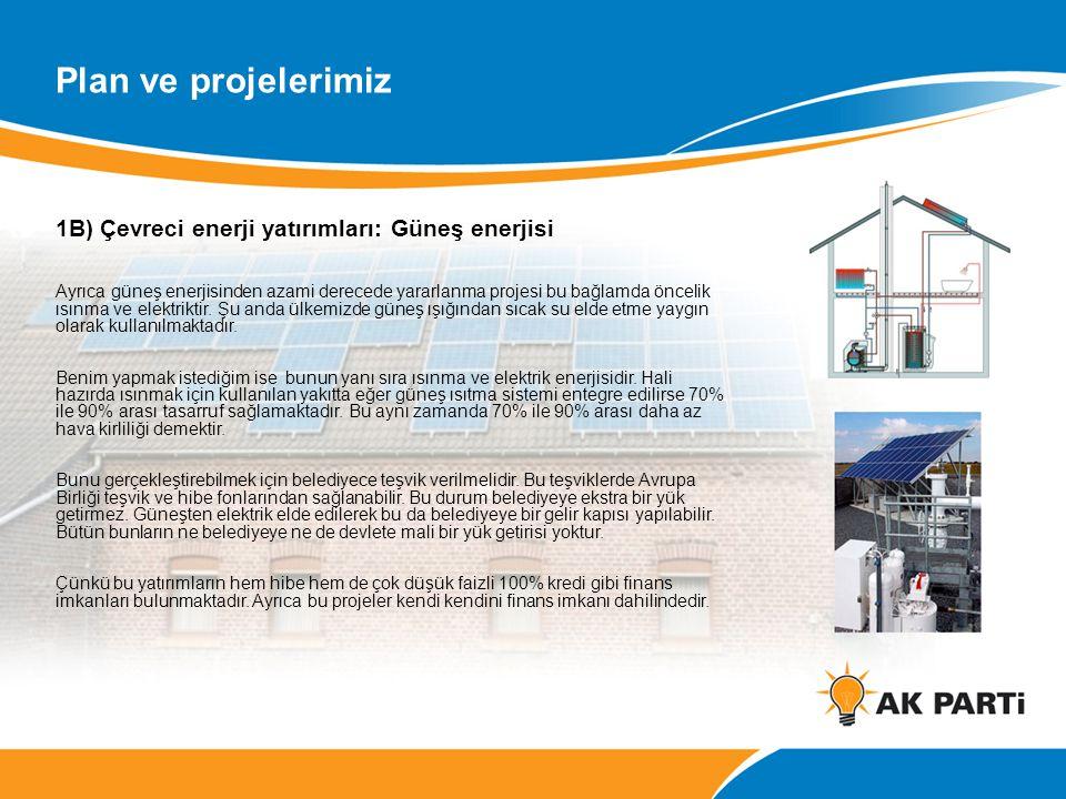 Plan ve projelerimiz 1B) Çevreci enerji yatırımları: Güneş enerjisi