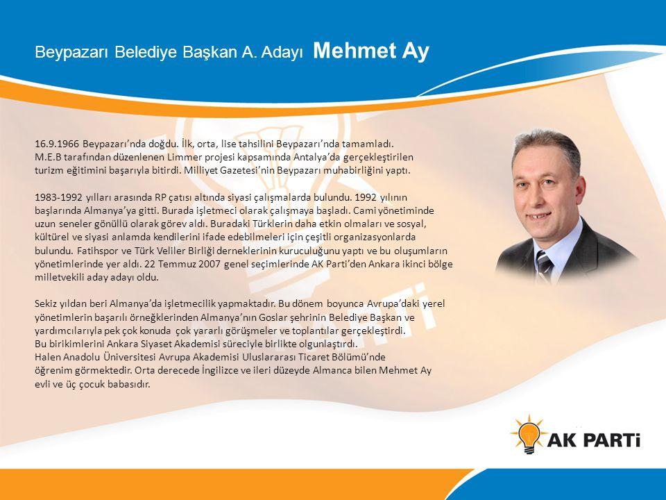 Beypazarı Belediye Başkan A. Adayı Mehmet Ay