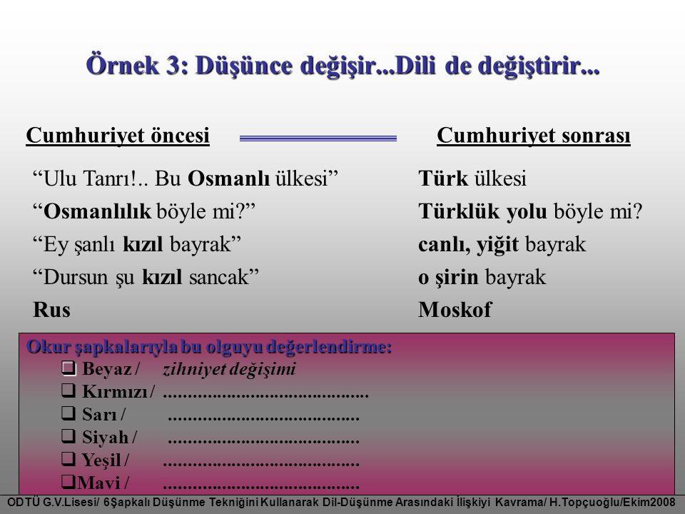 Örnek 3: Düşünce değişir...Dili de değiştirir...