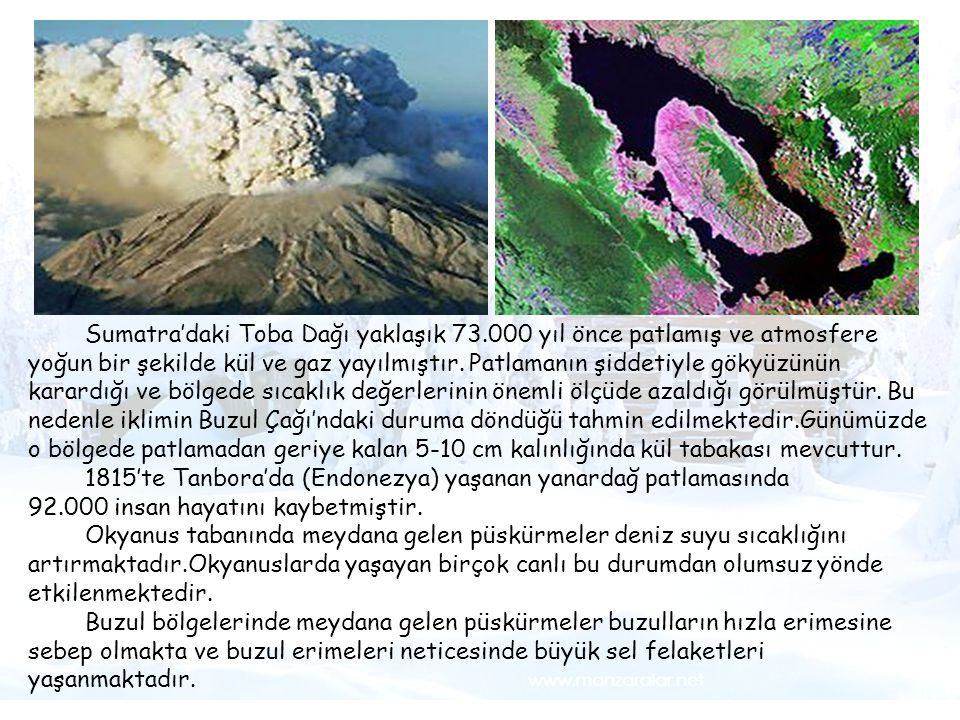 1815'te Tanbora'da (Endonezya) yaşanan yanardağ patlamasında