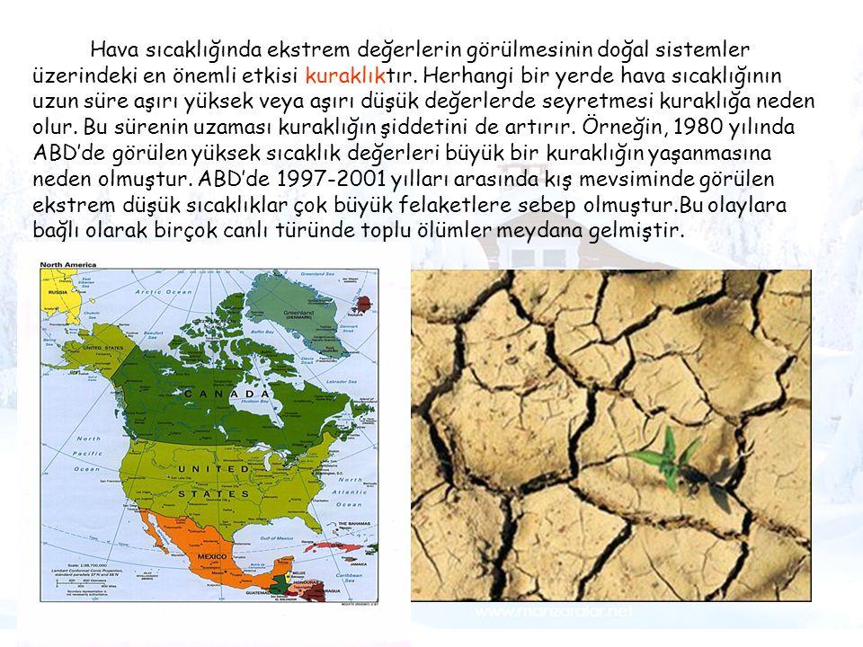 Hava sıcaklığında ekstrem değerlerin görülmesinin doğal sistemler üzerindeki en önemli etkisi kuraklıktır. Herhangi bir yerde hava sıcaklığının uzun süre aşırı yüksek veya aşırı düşük değerlerde seyretmesi kuraklığa neden olur. Bu sürenin uzaması kuraklığın şiddetini de artırır. Örneğin, 1980 yılında ABD'de görülen yüksek sıcaklık değerleri büyük bir kuraklığın yaşanmasına neden olmuştur. ABD'de 1997-2001 yılları arasında kış mevsiminde görülen ekstrem düşük sıcaklıklar çok büyük felaketlere sebep olmuştur.Bu olaylara bağlı olarak birçok canlı türünde toplu ölümler meydana gelmiştir.
