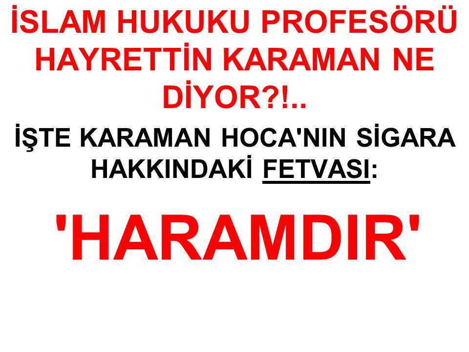 İSLAM HUKUKU PROFESÖRÜ HAYRETTİN KARAMAN NE DİYOR !..