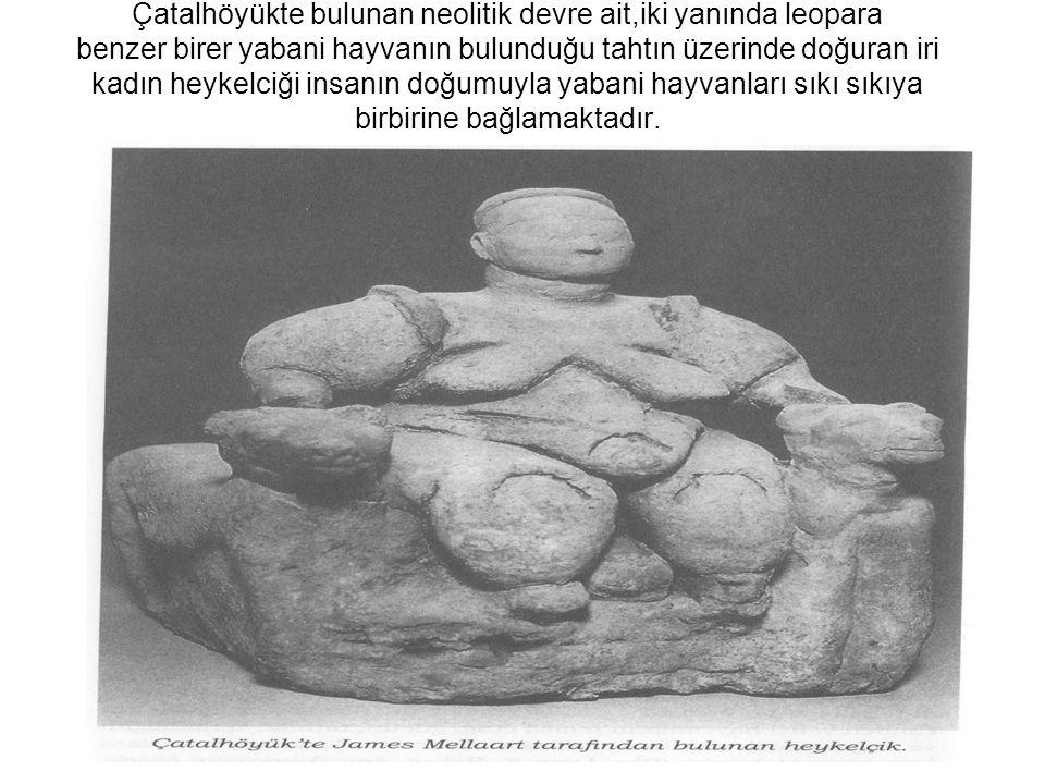 Çatalhöyükte bulunan neolitik devre ait,iki yanında leopara benzer birer yabani hayvanın bulunduğu tahtın üzerinde doğuran iri kadın heykelciği insanın doğumuyla yabani hayvanları sıkı sıkıya birbirine bağlamaktadır.
