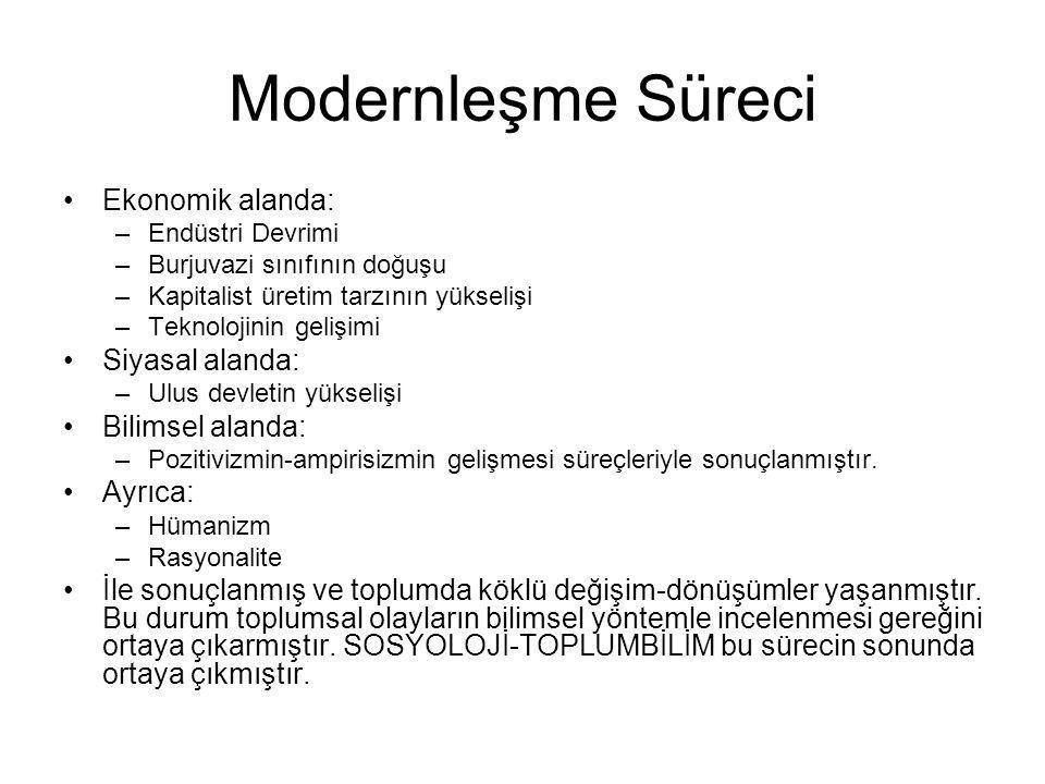 Modernleşme Süreci Ekonomik alanda: Siyasal alanda: Bilimsel alanda: