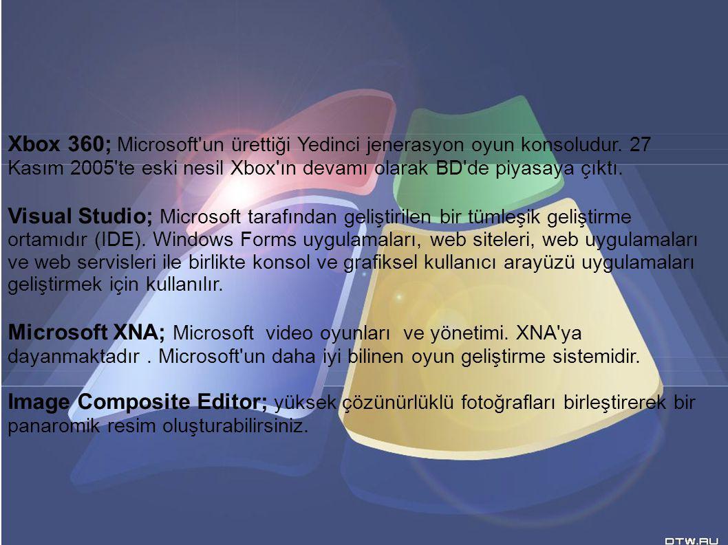 Xbox 360; Microsoft un ürettiği Yedinci jenerasyon oyun konsoludur