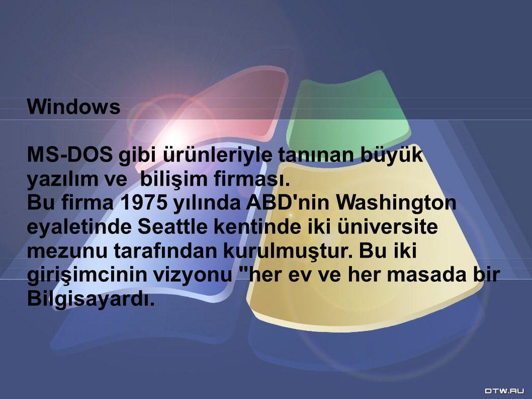 Windows MS-DOS gibi ürünleriyle tanınan büyük. yazılım ve bilişim firması.