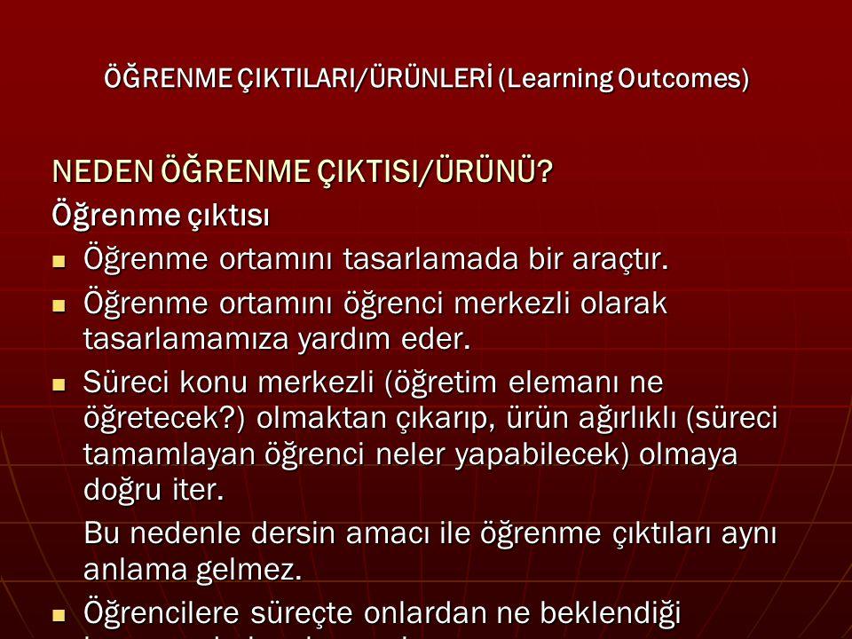 ÖĞRENME ÇIKTILARI/ÜRÜNLERİ (Learning Outcomes)