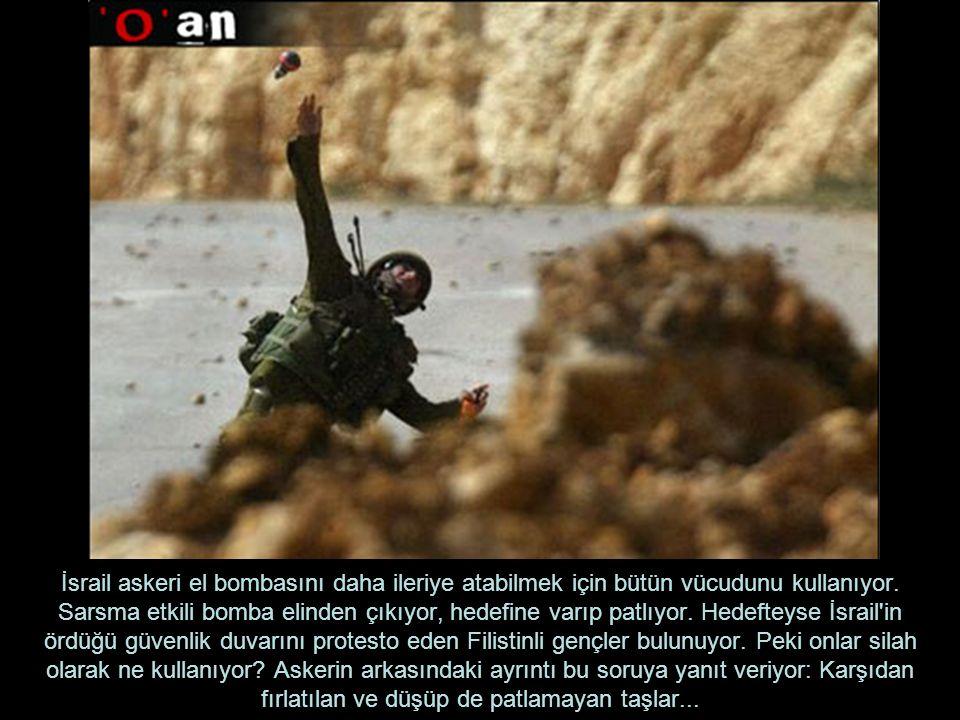 İsrail askeri el bombasını daha ileriye atabilmek için bütün vücudunu kullanıyor.