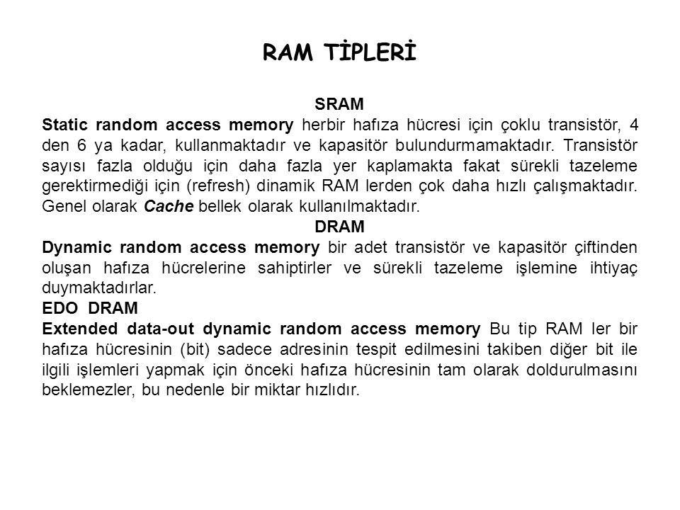 RAM TİPLERİ