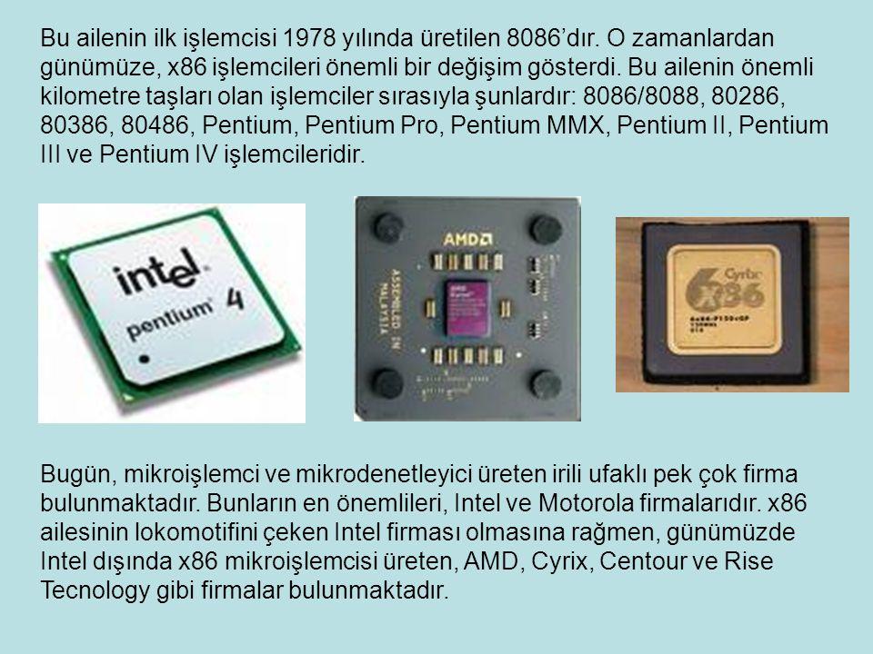 Bu ailenin ilk işlemcisi 1978 yılında üretilen 8086'dır