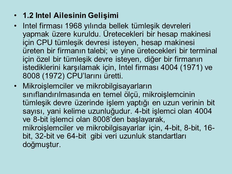 1.2 Intel Ailesinin Gelişimi