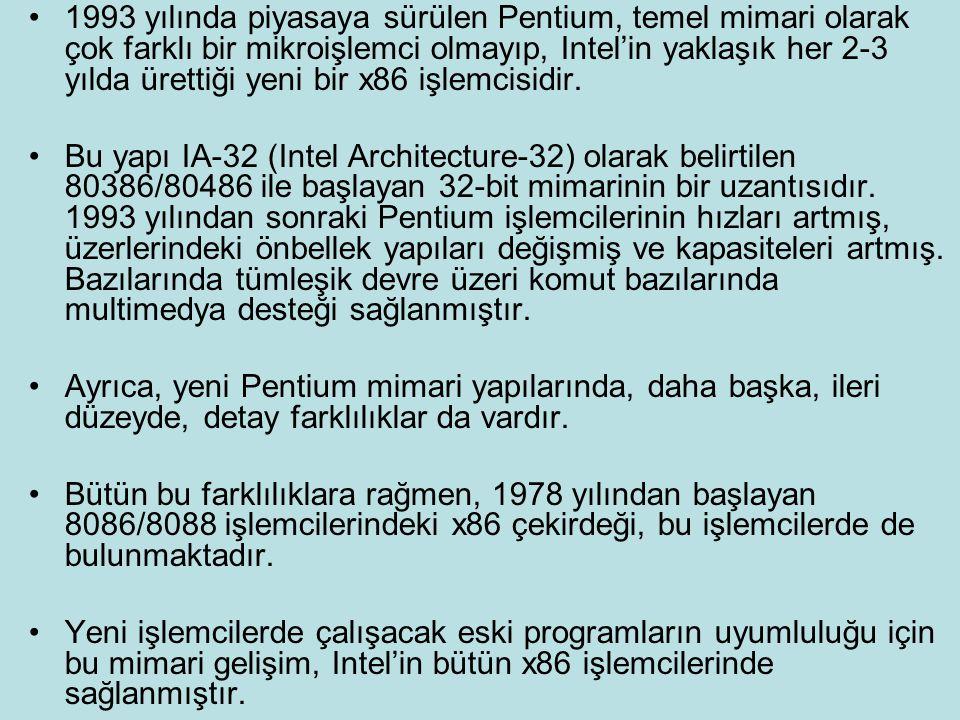 1993 yılında piyasaya sürülen Pentium, temel mimari olarak çok farklı bir mikroişlemci olmayıp, Intel'in yaklaşık her 2-3 yılda ürettiği yeni bir x86 işlemcisidir.