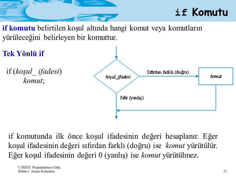 if Komutu if komutu belirtilen koşul altında hangi komut veya komutların yürüleceğini belirleyen bir komuttur.