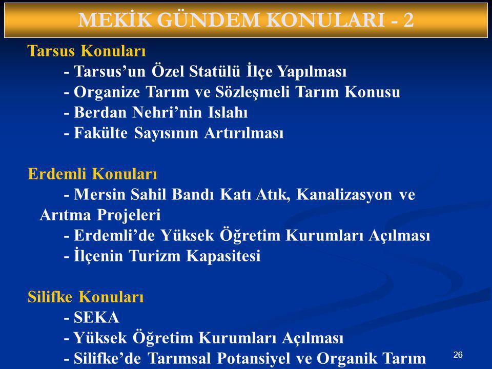 MEKİK GÜNDEM KONULARI - 2