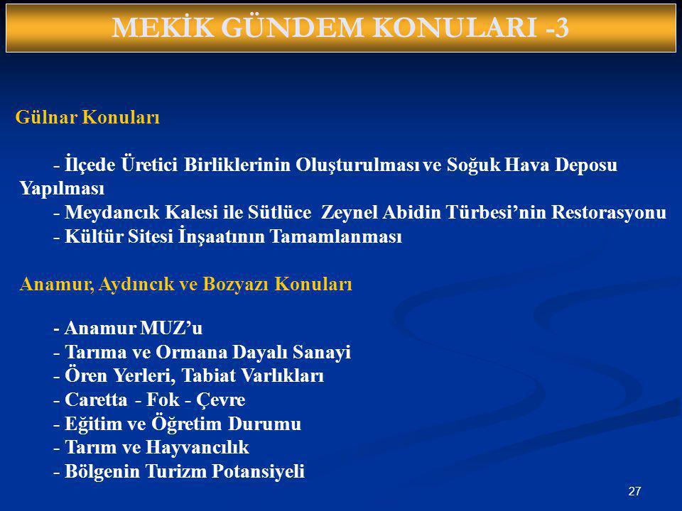 MEKİK GÜNDEM KONULARI -3