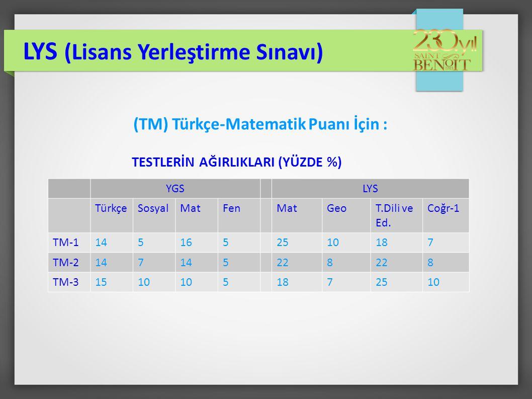 (TM) Türkçe-Matematik Puanı İçin :
