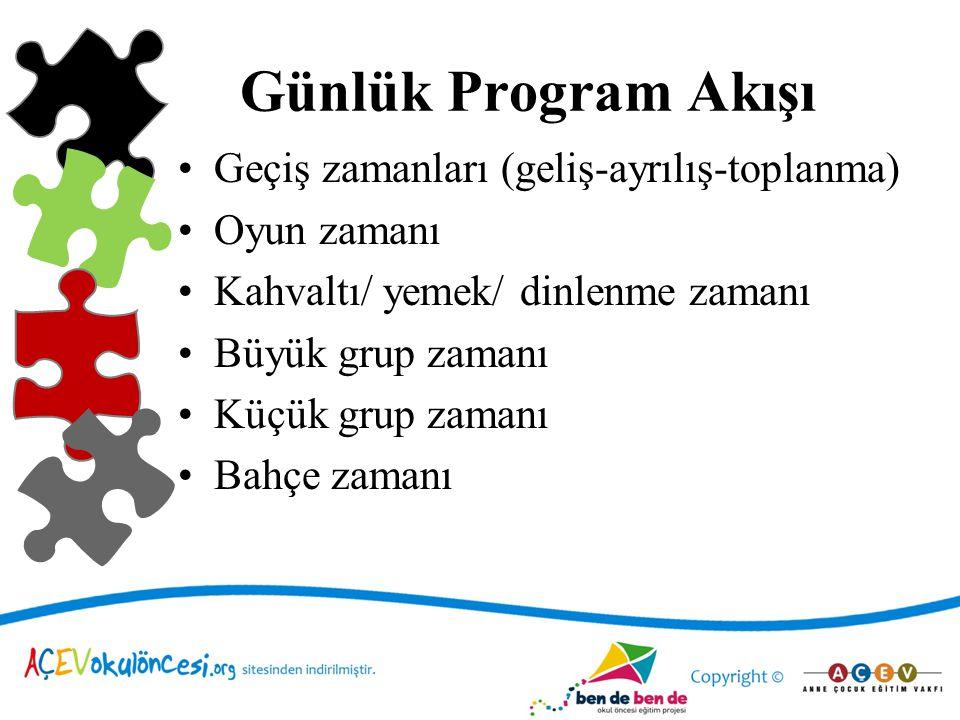 Günlük Program Akışı Geçiş zamanları (geliş-ayrılış-toplanma)