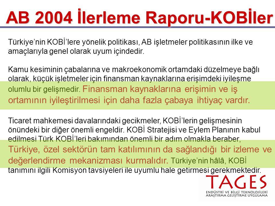 AB 2004 İlerleme Raporu-KOBİler