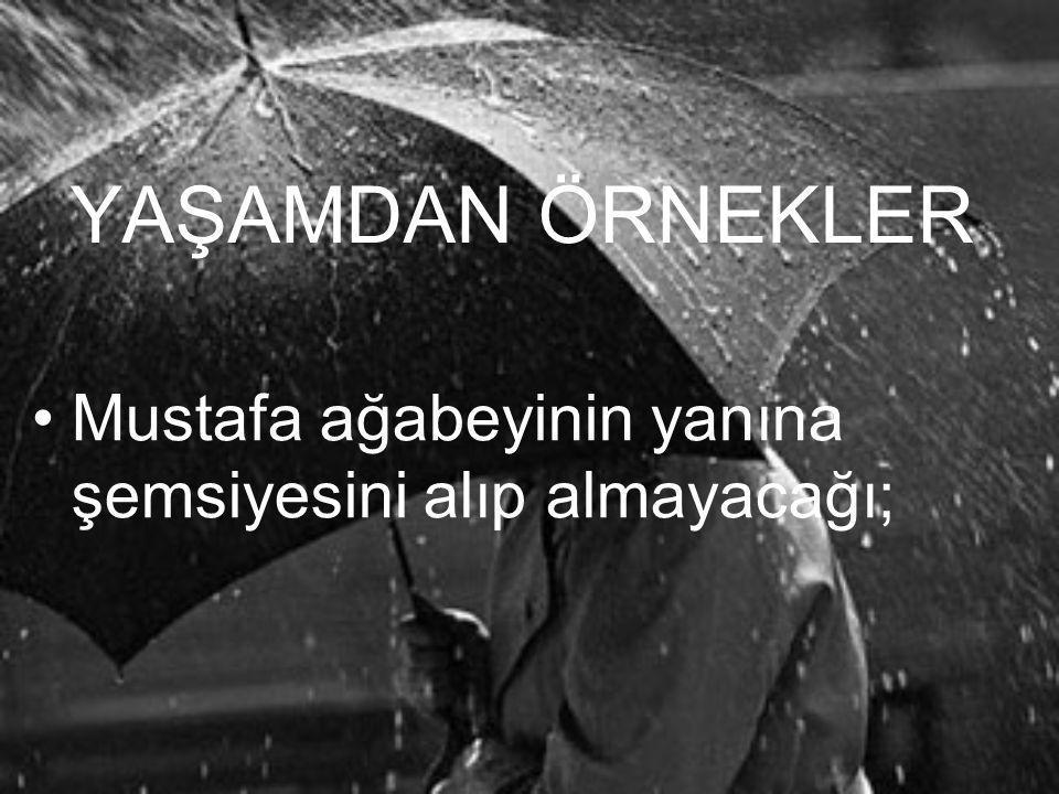YAŞAMDAN ÖRNEKLER Mustafa ağabeyinin yanına şemsiyesini alıp almayacağı;