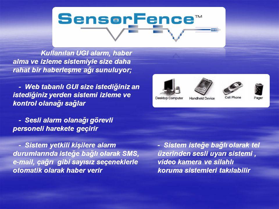 Kullanılan UGI alarm, haber alma ve izleme sistemiyle size daha rahat bir haberleşme ağı sunuluyor;