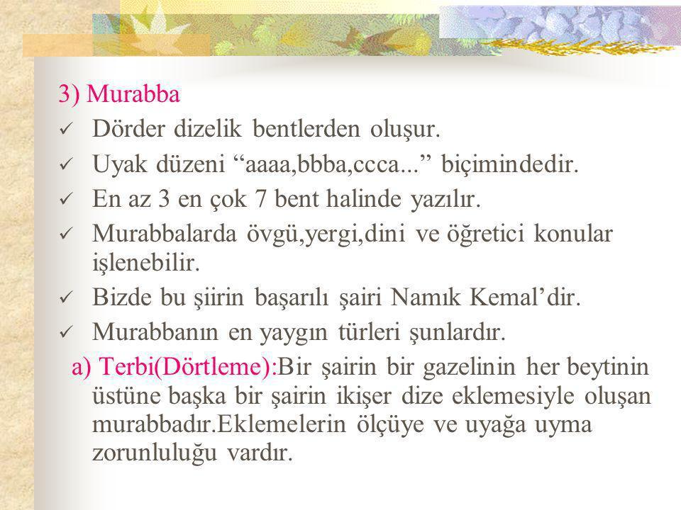3) Murabba Dörder dizelik bentlerden oluşur. Uyak düzeni aaaa,bbba,ccca... biçimindedir. En az 3 en çok 7 bent halinde yazılır.