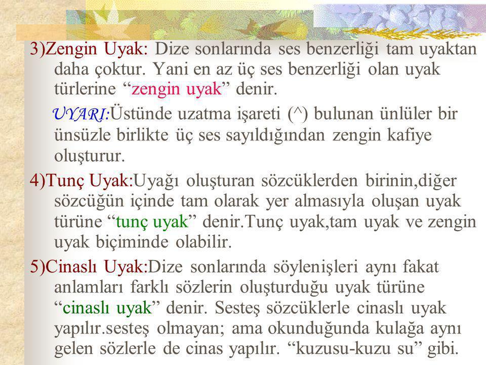 3)Zengin Uyak: Dize sonlarında ses benzerliği tam uyaktan daha çoktur